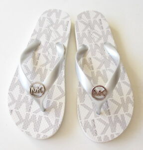 look out for good service buying cheap Details about NEW Michael Kors Women's Vanilla Rubber Flip Flop Thong  Sandal Silver Logo Charm