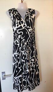 Stunning Uk10 Jersey BlackWhite London Issa in Abito Mock 2 pezzi seta nk0wOP