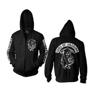 Anarchy Officially Patch Black Of Sizes xxl Licensed Zipped Hoodie Back Sons S qrf6tXwTr