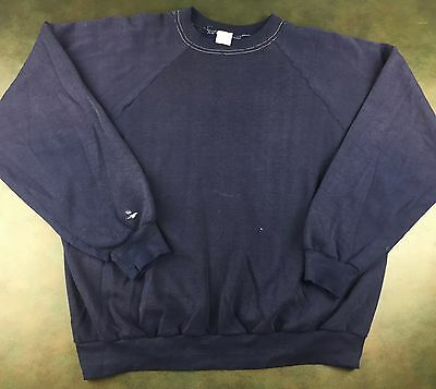 True Vintage 80s Threadbare Solid Blank Blue Sportswear Sweatshirt Sweater XL