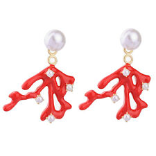 ZARA ELEGANT RED CORAL BRANCH WHITE PEARL EARRINGS- CAN BE WORN IN 2 WAYS - NEW