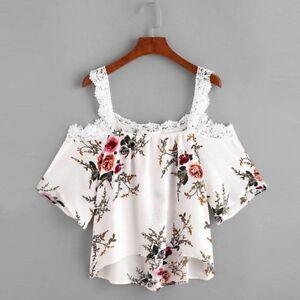 mujer-manga-corta-Camisetas-de-encaje-flores-Hombro-Descubierto-Camisa-Blusa