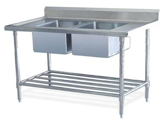 double stainless steel commercial catering kitchen sink unit 1200 x