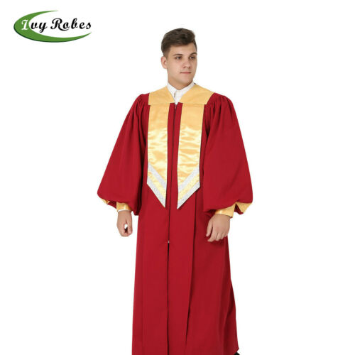 IvyRobes Maroon Clergy Choir Robe Fluted Cuff Sleeves Gold Hanging Stole CR017