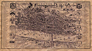 London Town Map.Details About Poster Old Map Of London Town Circa 1593 Vintage Gregorian Era Cartography