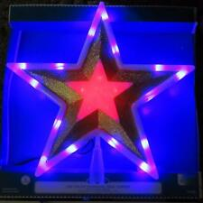 LED LIGHT UP COLOR CHANGING GOLD STAR CHRISTMAS TREE TOPPER~NEW