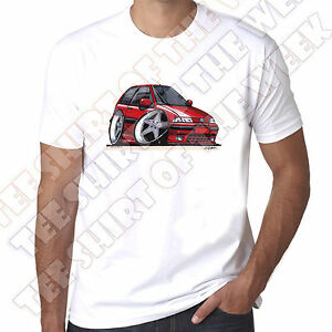WickedArtz-Cartoon-Car-Red-Fiat-Punto-Mens-100-Cotton-White-T-shirt