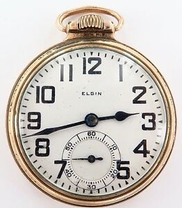 PRICED-TO-SELL-1924-ELGIN-B-W-RAYMOND-16S-21J-12K-GF-POCKET-WATCH-WORKING