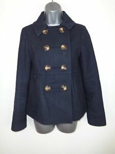 WOMENS-TOPSHOP-BLACK-BUTTON-UP-DOUBLE-BREASTED-WOOL-WINTER-COAT-JACKET-SIZE-UK-8