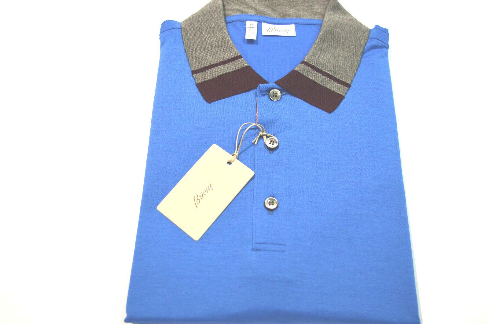 NEW  BRIONI Polo  Short Sleeve Cotton Größe L Us Eu 52 (Intarsi 3)