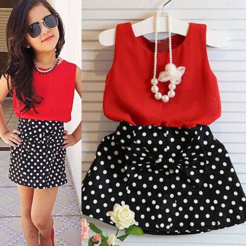 Bow Dot Dress Skirts Summer 2PCS Kids Baby Girls Party Outfits T-shirt Tops