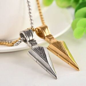 Retro-Gold-Silver-Stainless-Steel-Men-039-s-Chic-Arrow-Necklace-Jewelry-Long-Chain
