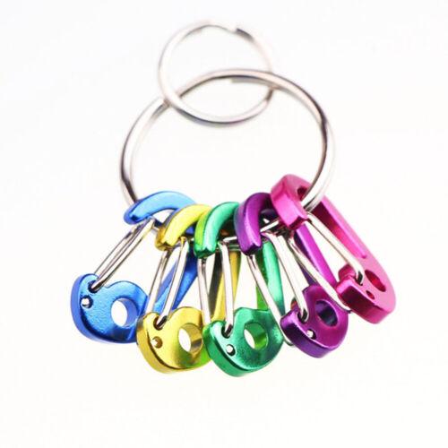 5pcs Outdoor D type Hiking Hang Clip Metal Key Ring Buckle Snap Hook Carabiners/_