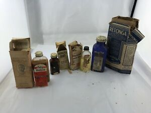 Vintage-antique-glass-medicine-bottles-With-Boxes-And-Some-Contents