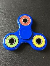 blue multi ring triple finger hand spinner fidget spinning toy steel bearing