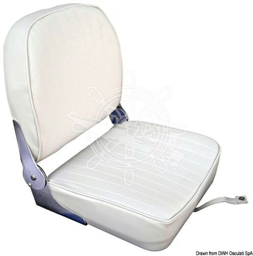 Osculati Seat with Foldable Back Coated in White Vinyl with Zip-Fasteners