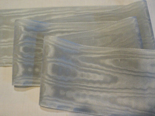 "RAYON 2/"" WIDE GERMAN MOIRE RIBBON SILVER GRAY"