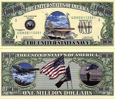 U.S. Navy Million Dollar Bill  Novelty Money