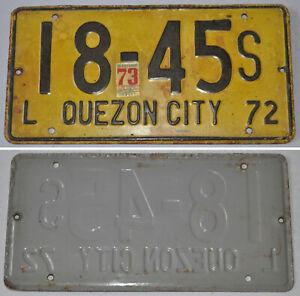 1972-Philippines-QUEZON-CITY-LICENSE-CAR-PLATE-18-45S