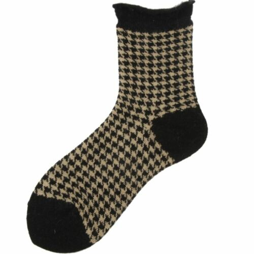 Pattern Wool Mixed Hundstooth Thick Socks Winter Vintage Women