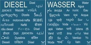 Aufkleber-im-Set-034-Wasser-034-und-034-Diesel-034-in-vielen-Sprachen