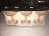 Luminarc Vintage Pink Swirl Rosaline Champagne Sherbet Glasses Set Of 3 France