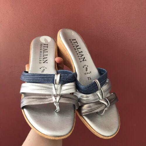 Metallic silver flower wedge sandals sz 7.5