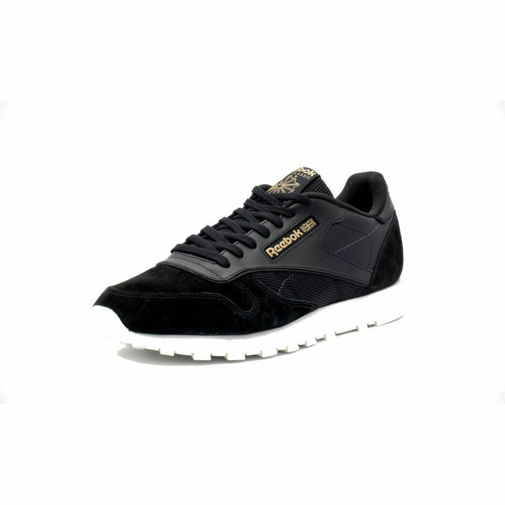 Reebok Classic Leather Alr Men's Running Training Shoes Black/White/Gold BS5243