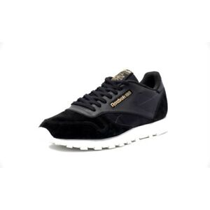 Reebok-Classic-Leather-Alr-Men-039-s-Running-Training-Shoes-Black-White-Gold-BS5243