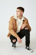 Factorie Mens Sherpa Collar Bomber Jackets/Knits  In  Beige