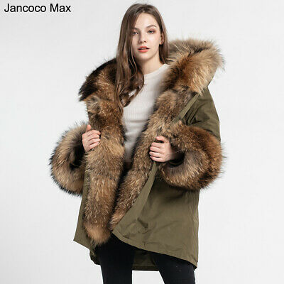 New Women Oversized Parka Jacket with Luxury Big Fur Hooded Trim Long Coat37555 | eBay