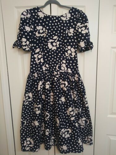 80's Vintage Misty Lane Navy Blue White Polka Dots