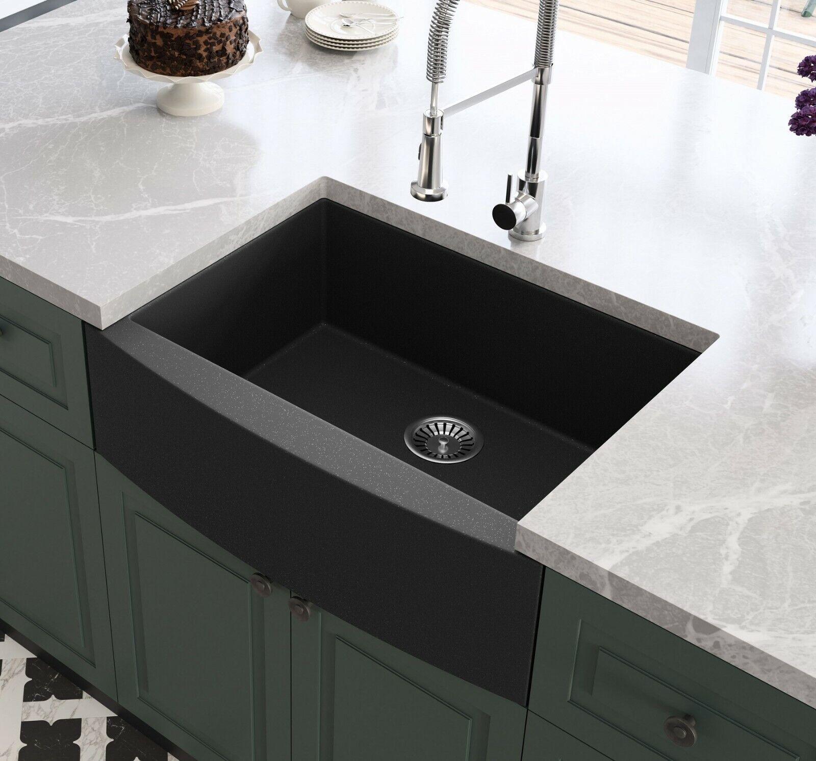 Black Farmhouse Sink Granite Composite Apron Front Sink Single Bowl