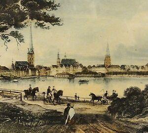 HAMBURG-PANORAMA-BLICK-UBER-DIE-ALSTER-Stahlstich-1840-von-F-Hirchenhein-sc