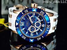 Invicta Mens 50mm Pro Diver Quartz Chronograph 18k Rose Gold Blue Dial Watch