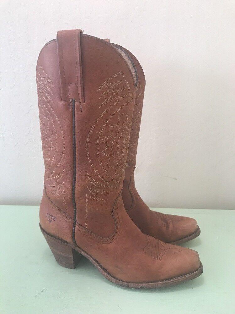 FRYE Vtg 70s 80s Western Cowboy CognacTall donna Distressed USA stivali 8