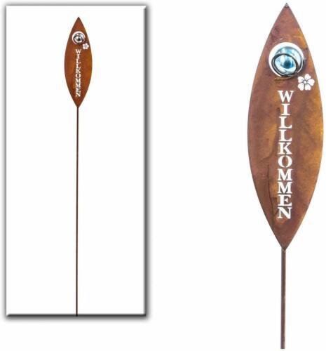 Gartenstecker Willkommen Metall silber//rost H 100 cm Beetstecker Stecker