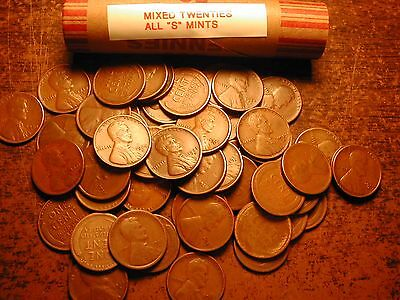 """LINCOLN WHEAT CENT PENNY ROLL MIXED THIRTIES ALL /""""S/"""" MINTS!!"""