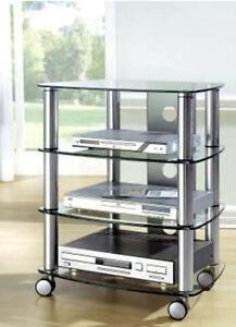hifi rack mit rollen tv phonowagen glas metall regal fernsehtisch rollbar chrom ebay. Black Bedroom Furniture Sets. Home Design Ideas