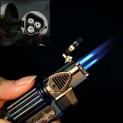 Triple Jet Windproof Torch Gas Power Lighter Flame Butane For Cigar Cigarette ST