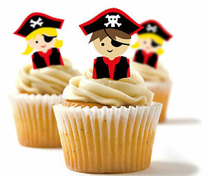Papier De Riz Décoration ✿ 24 edible papier de riz décoration cupcake, décorations - pirate