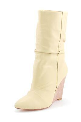 Plomo Dominique Boot Sand Ankle Bootie Fold over pointed toe Wedge Cream Beige