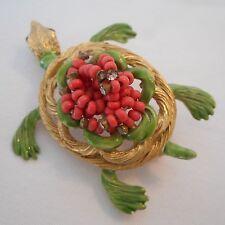 HAR Turtle Signed Brooch/Pin Clear small Rhinestones Green Enamel gold-tone Bead
