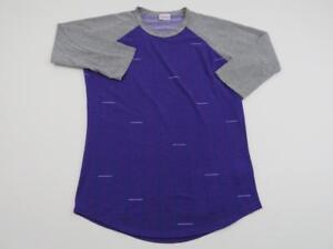 LuLaRoe-LLR-Womens-Purple-Pink-Gray-Striped-Randy-T-Shirt-Small-Baseball-Top-Tee