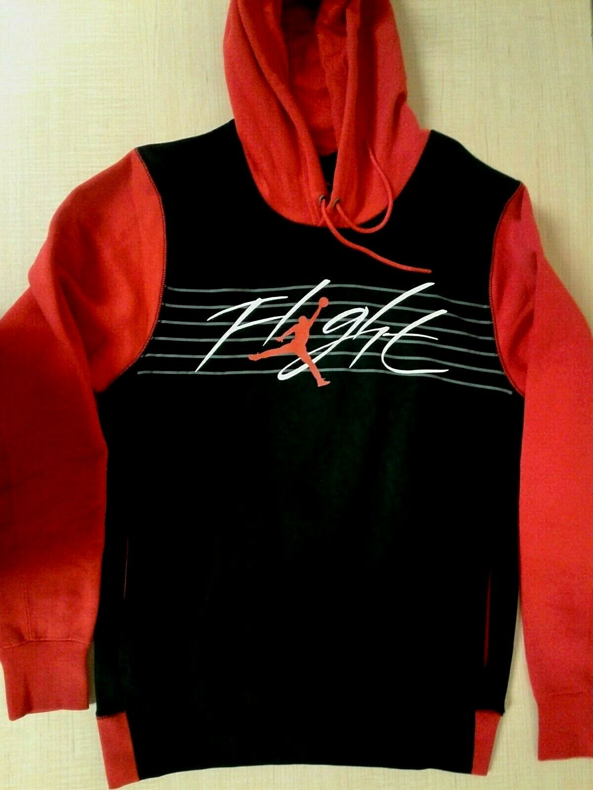 Original Nike Air Jordan Rot Schwarz Pullover Fleece Kapuzenpullover 930525-658