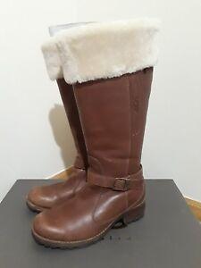 91bd51ef21e Details about UGG Langley 5608 Caramel Brown Silt Leather Sheepskin Lined  Waterproof Boots EUC
