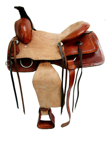 Details about  /RANCH SADDLE WESTERN HORSE TOOLED LEATHER BROWN TRAIL PACKAGE 15 16 17 ROPER SET