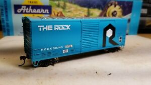 Athearn-HO-Rock-Island-40-039-boxcar-metal-wheels-rtr-series-The-Rock-railbox