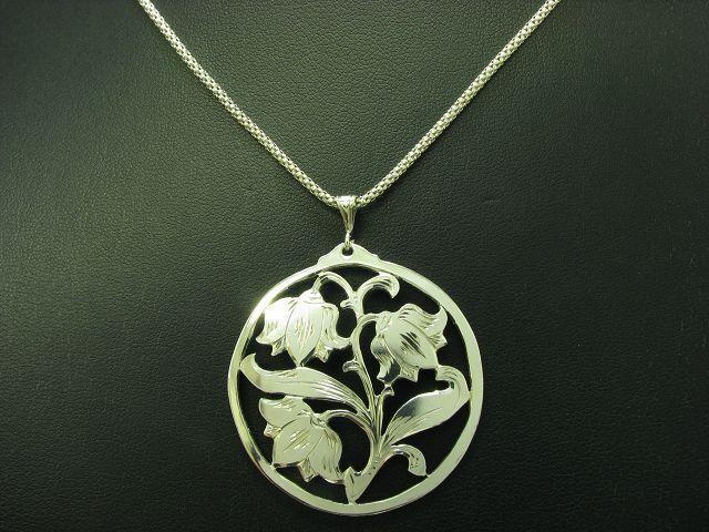 925 Sterling silver Halskette & 900 silver Anhänger   Floral   46,2cm   10,6g
