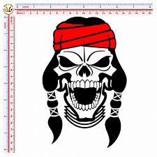 adesivo auto moto casco teschio apache scontornato sticker skull apache 1 pz.